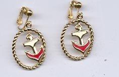Avon  Drop Anchor Clip Earrings