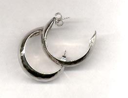Avon  Hammered Hoop pierced Earrings-  Silvertone
