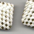 Avon Metallic Splash pierced Earrings-white/goldtone