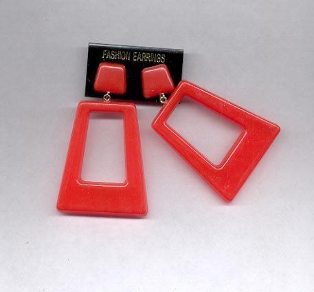 red pierced earrings (#7)