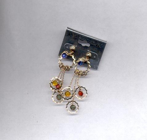 Goldtone blue, red, green dangling pierced earrings (#62)