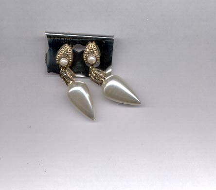 White and goldtone clip on earrings (#155)