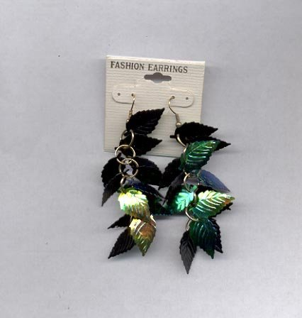 Shimmering leaf pierced earrings (# 85)