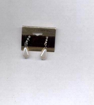 White with stones pierced earrings (#42)