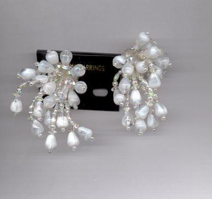 Cluster white clip on earrings (#93)