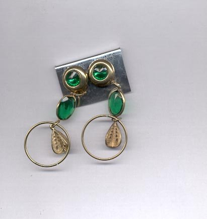 Green goldtone clip on earrings (#158)