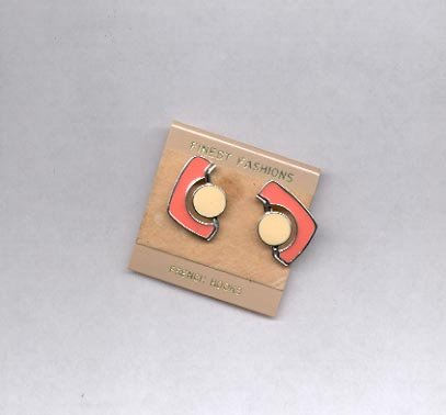 Pierced earrings (looks to be beige and coral) (#21)