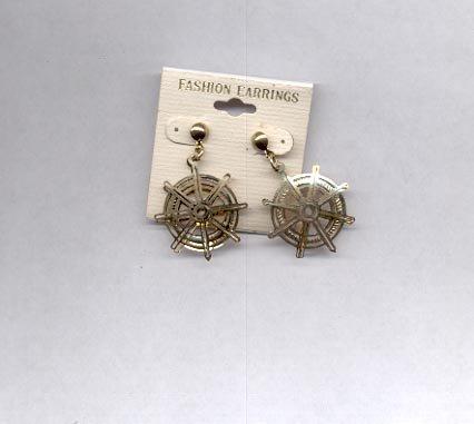 Goldtone boat steering wheel pierced earrings (#20)