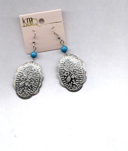 Silvertone pierced earrings with wires (#40)