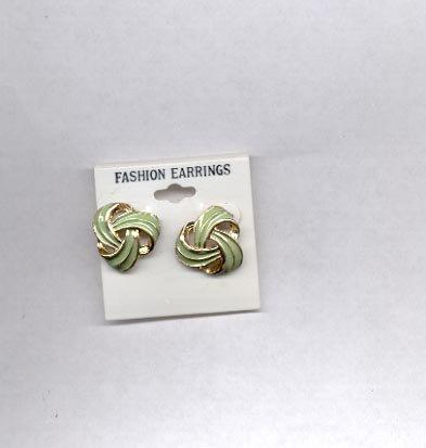 Green with goldtone pierced earrings (#142)