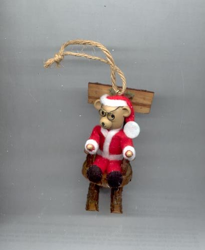 Avon Log Cabin Cutie Ornament- Teddy Bear