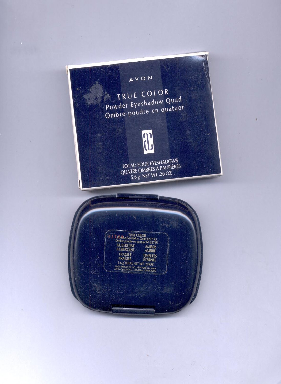 Avon True Color Powder Eyeshadow Quad # 227-  Aubergine/ Amber/ Fragile/ Timeless.- - VINTAGE
