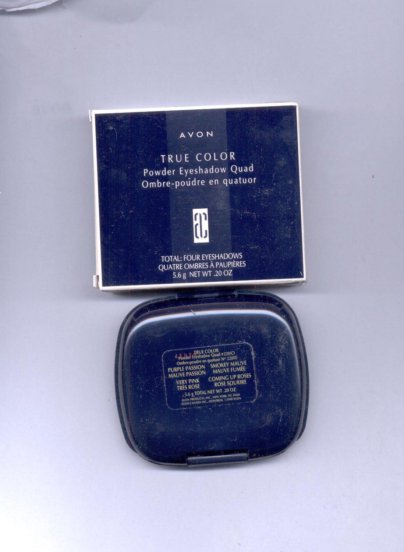 Avon True Color Powder Eyeshadow Quad # 220- Purple Passion, Smokey Mauve,- VINTAGE