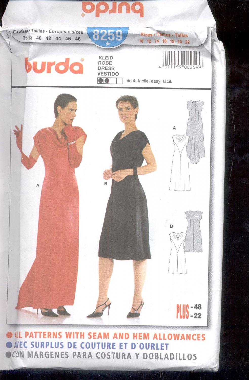 Burda pattern 8259 Dress short or long    Sizes 10-22   uncut