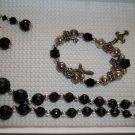 Black silver  Necklace, stretch charm bracelet pierced earrings - handmade (#1)