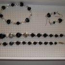 Black silver  irridescent  Necklace, stretch bracelet pierced earrings - handmade (#4)