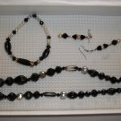 Black silver pearl  Necklace, stretch bracelet pierced earrings - handmade (#5)