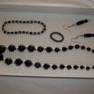 Black & Silver Necklace, stretch bracelet pierced earrings ring- handmade (#7)