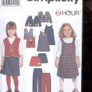 Simplicity Pattern 9854 Child's pants, skirt, jumper,vest,   sizes-A- 2-6X uncut