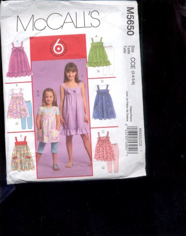 McCalls Pattern M5650-  Childrens Tops, dresses, leggings- size CCE  3-6   uncut
