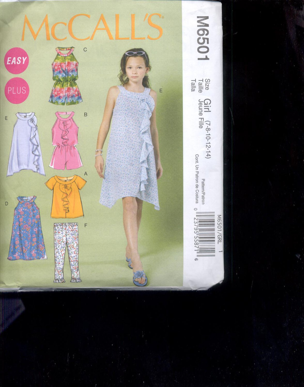 McCalls Pattern M6501 Girls   tops,  Rompers, dresses,- size Girl- 7-14 uncut