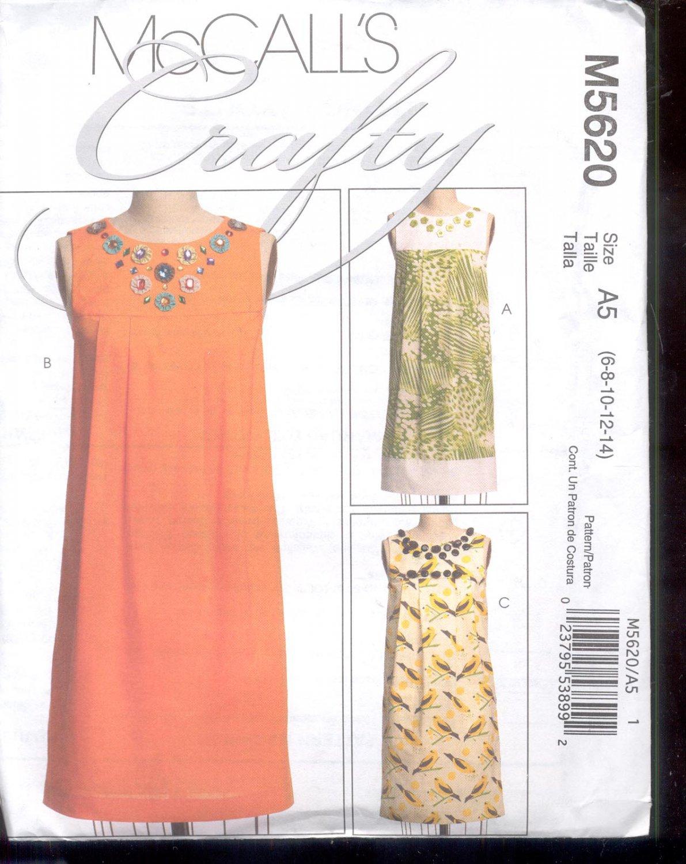 McCalls Pattern M5620 - Misses Dresses - size A5  -6-14     uncut