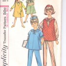 Simplicity pattern 5757  Childs and girls nightgown, jumper, top and pjs- Size 6