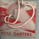 Roll Garters - Large- carded pair Red and white- vintage