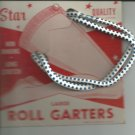 ROLL GARTERS- LARGE- carded pair- Blue and white- Vintage