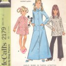 McCalls  pattern 2179   Girls Robe in three lengths and pants-  Size 6
