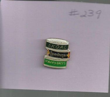 Skoal, Copenhagen, Happy Days     hat (lapel) pin ( # 239)