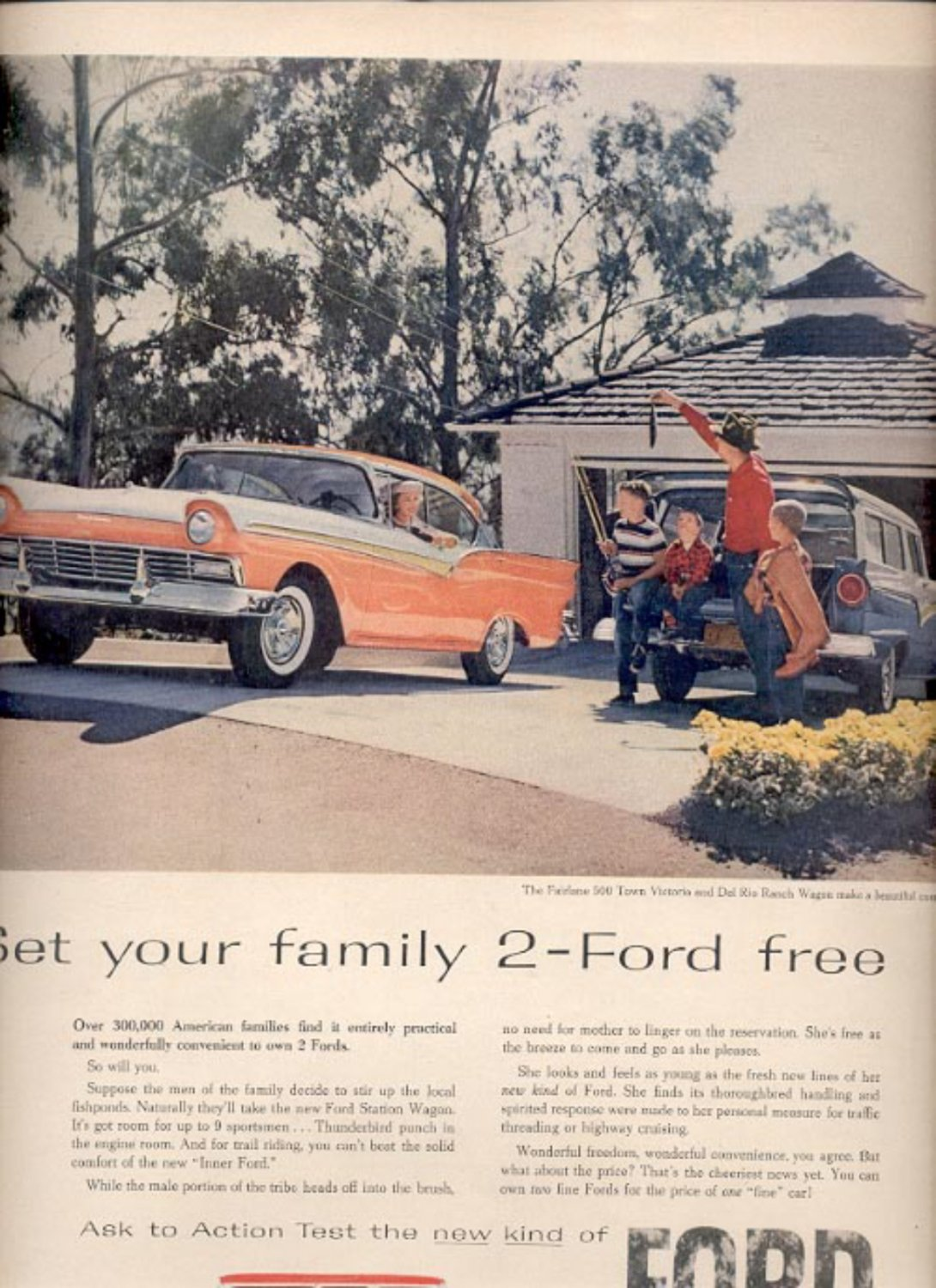 1957    Ford Fairlane 500 Victoria and Del Rio Ranch Wagon  ad (# 4980)