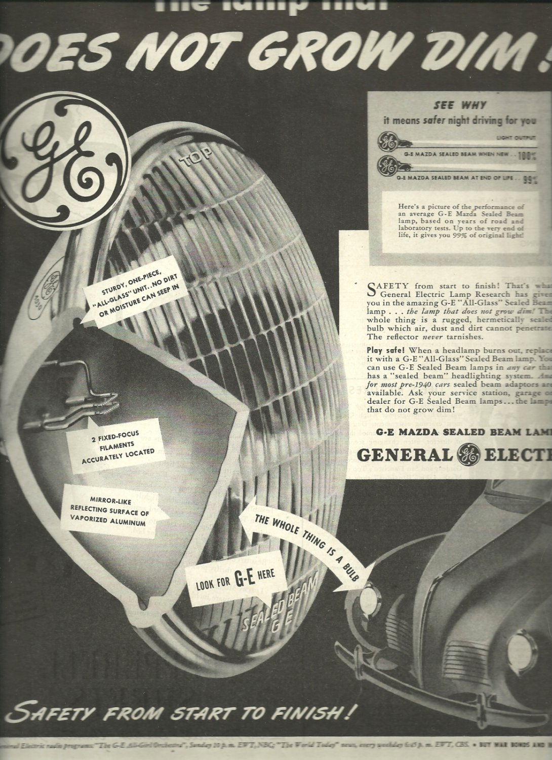 1944 General Electric  G-E Mazda sealed beam Lights ad (# 3278)