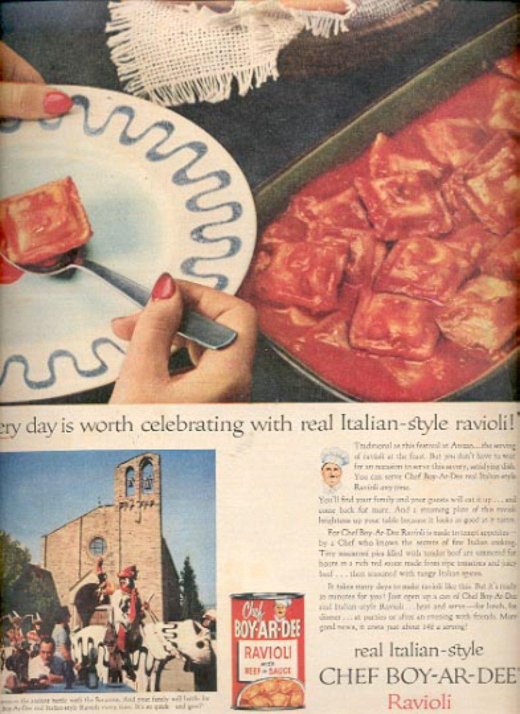 1957   Chef Boy-Ar-Dee Ravioli   ad (# 4913)