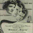"1946 ""Tomorrow is Forever"" movie ad  (#1084)"
