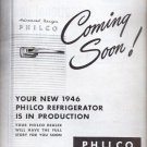 Oct. 29, 1945  - New 1946 Philco Refrigerator  ad (# 5248)