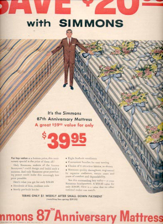 1957   Simmons 87th anniversary  Mattress ad (# 4921)