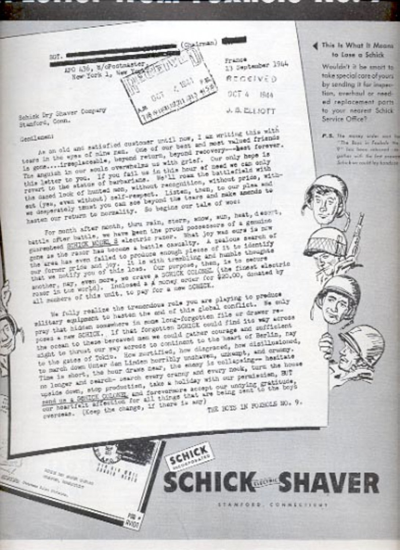 1945  Schick Electric Shaver   magazine   ad (# 4390)