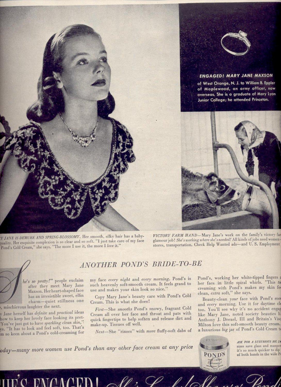 March  13. 1944     Ponds Cold Cream   magazine        ad  (# 323)