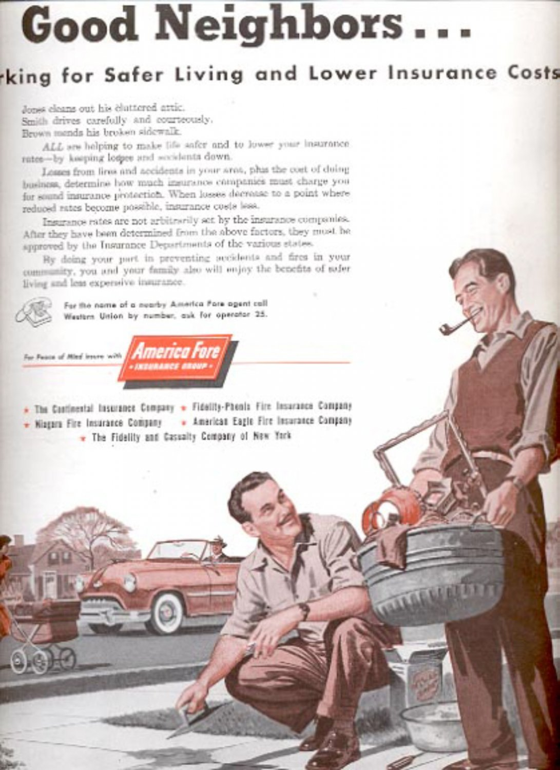 1954  America Fore Insurance Group  magazine   ad (# 5178)