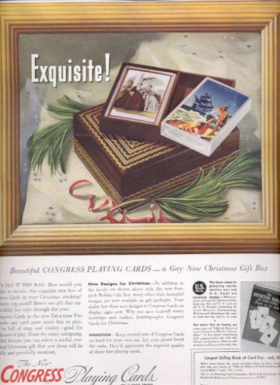 Dec. 1939   Congress playing cards     magazine     ad (#5991)