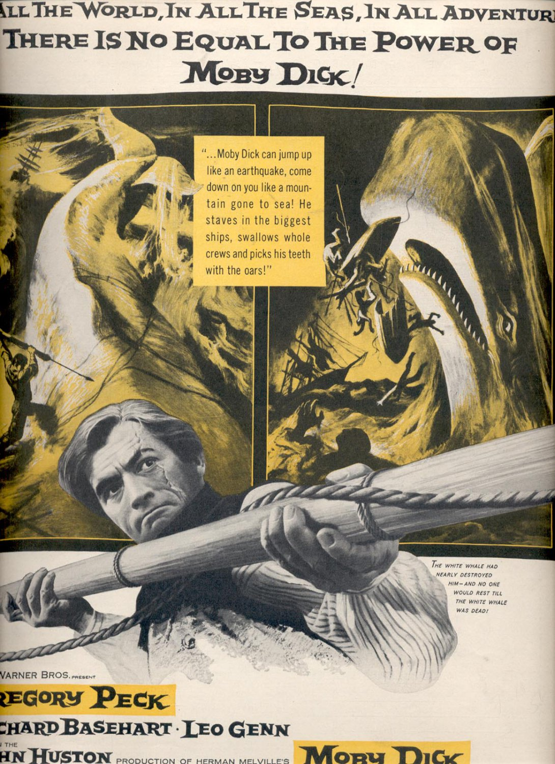 July 10, 1956 Moby Dick movie with Gregory Peck ad (# 3716)