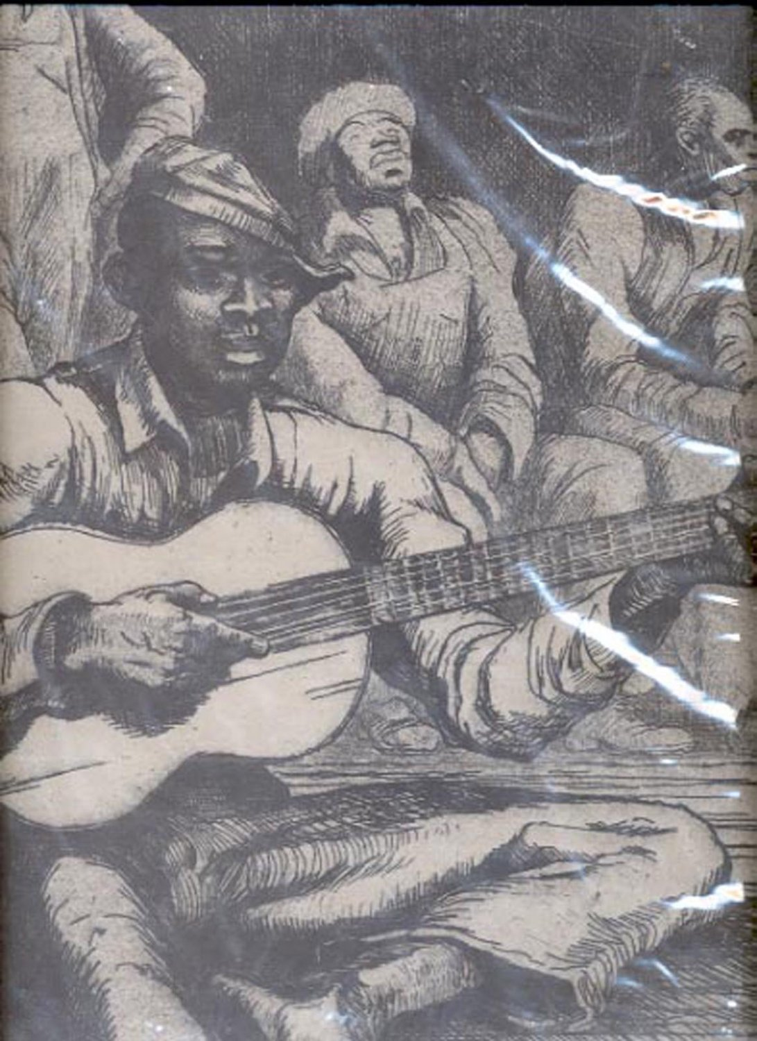 "Sketch of men and one playing guitar print (#38)  11""x14"""