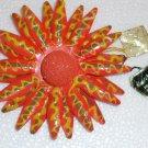 Orange  Hand crafted papier mache brooch Made in Japan. Vintage.  (# 1)