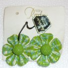 Green   Handcrafted papier mache  clip earrings Made in Japan Vintage.(#23)