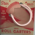 ROLL GARTERS- Small- carded pair- Red and white-  Vintage.