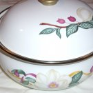 2 Lincoware Enamelware  Round  Bowls with Lids  - Vintage