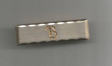 "Hickok vintage  Goldtone tie bar- With a B- 1 1/4"""