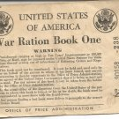 United States of America War Ration Book One- 1942 with certificate of Registrar
