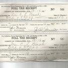 1951  Tuscaloosa, Ala. Poll Tax Receipt  for 1951  husband and wife